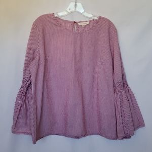 Solitaire Stripe Bell Sleeve Blouse Size XL
